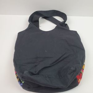 Floral Embroidered Tote Purse Bag Cotton Black